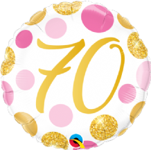 "70 Birthday Pink & Gold Dots Foil Balloon (18"") 1pc"